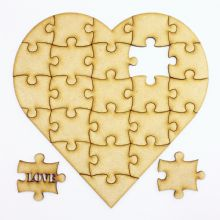 "Wooden 24 Piece Heart Puzzle with ""Love"""